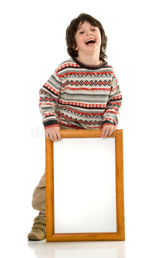 Download The boy with a frame stock image. Image of billboard, showing - 9746599
