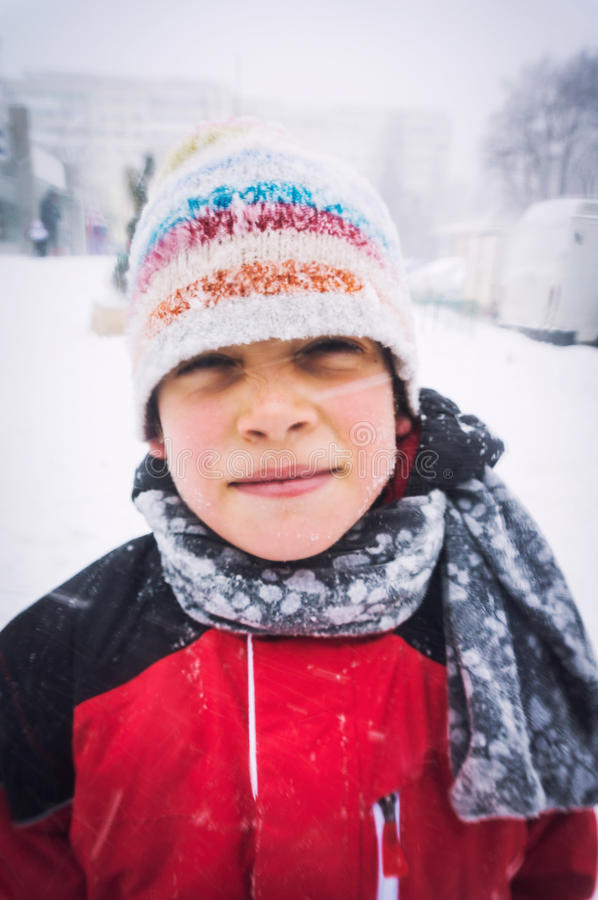 Download Boy In Freezing Cold Weather Stock Image - Image: 37121775