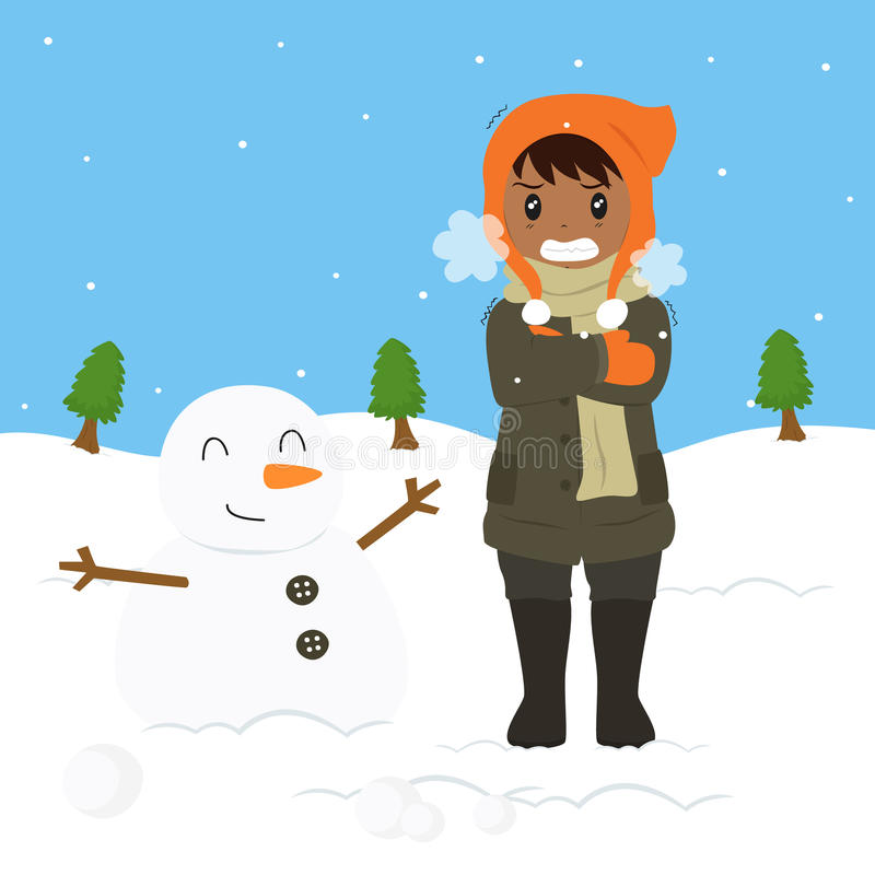 Boy Freezing and Shivering Vector Illustration. Freezing and shivering young boy on winter cold, standing beside a snowman. cartoon vector illustration vector illustration