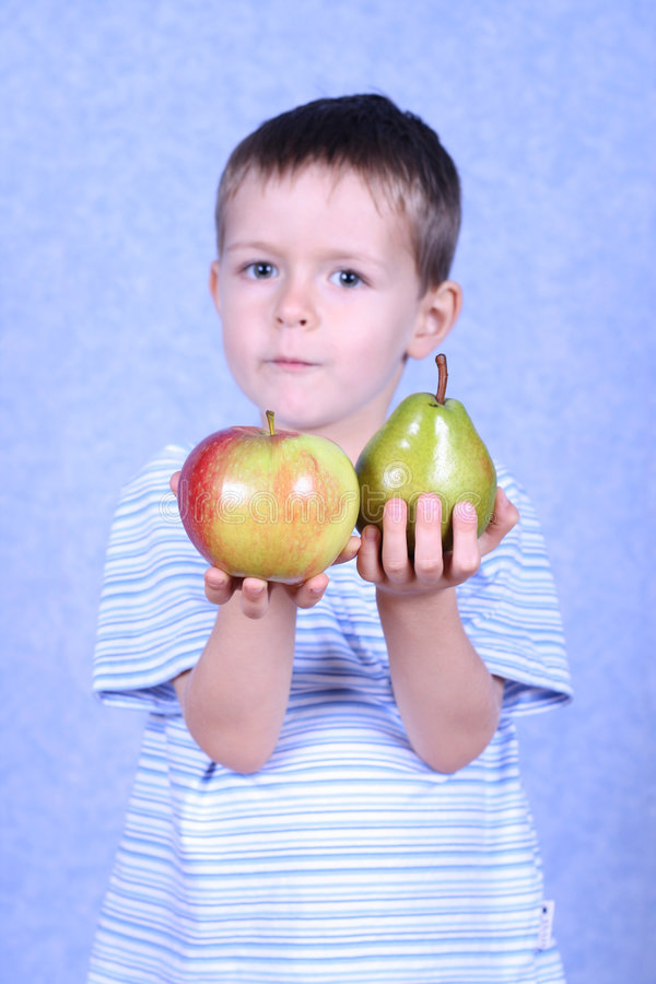 Download Boy and fruits stock image. Image of fruit, pear, healthy - 1406709