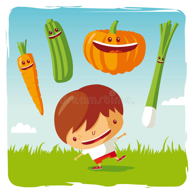 Download Boy with funny vegetables stock vector. Image of pumpkin - 19595729