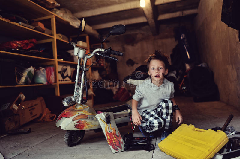 Download Boy in the garage stock photo. Image of length, lifestyles - 33590698