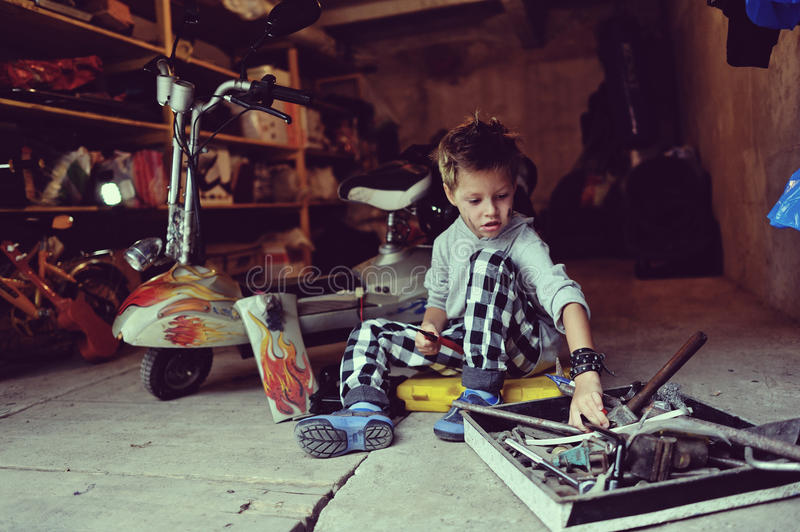 Download Boy in the garage stock photo. Image of caucasian, rocker - 33590734