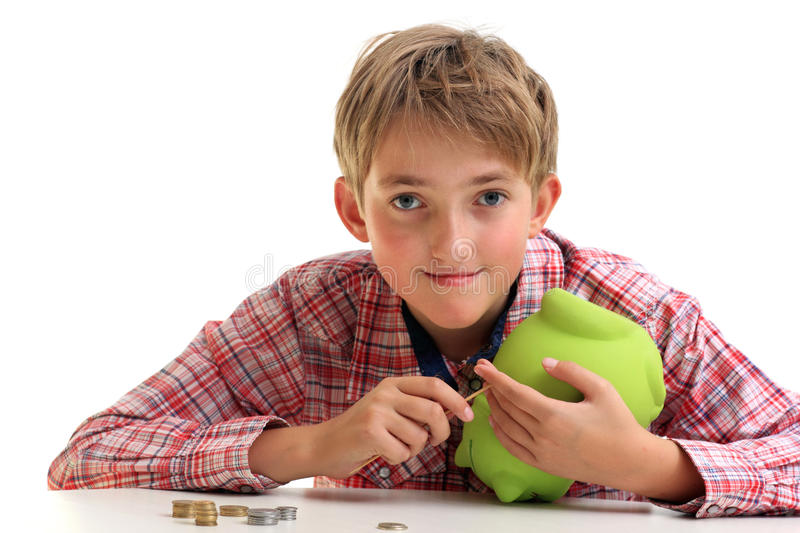 The boy gets money stock photography