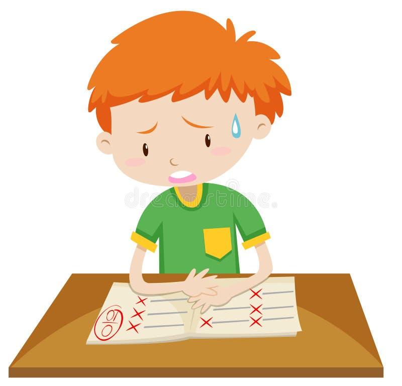 Boy getting zero on test. Illustration royalty free illustration