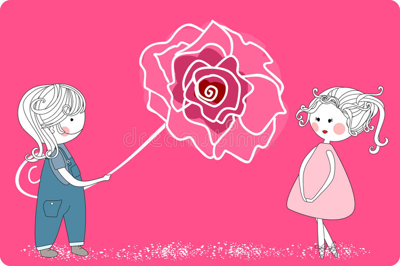 Boy With Giant Rose Royalty Free Stock Photos