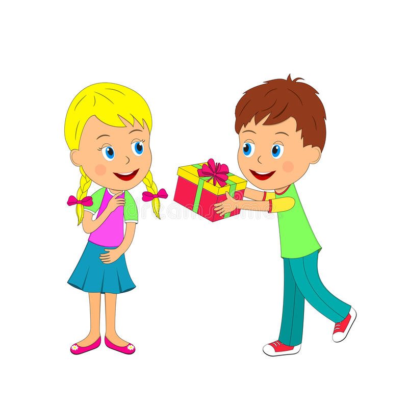 Boy with gift and girl on a white background stock illustration