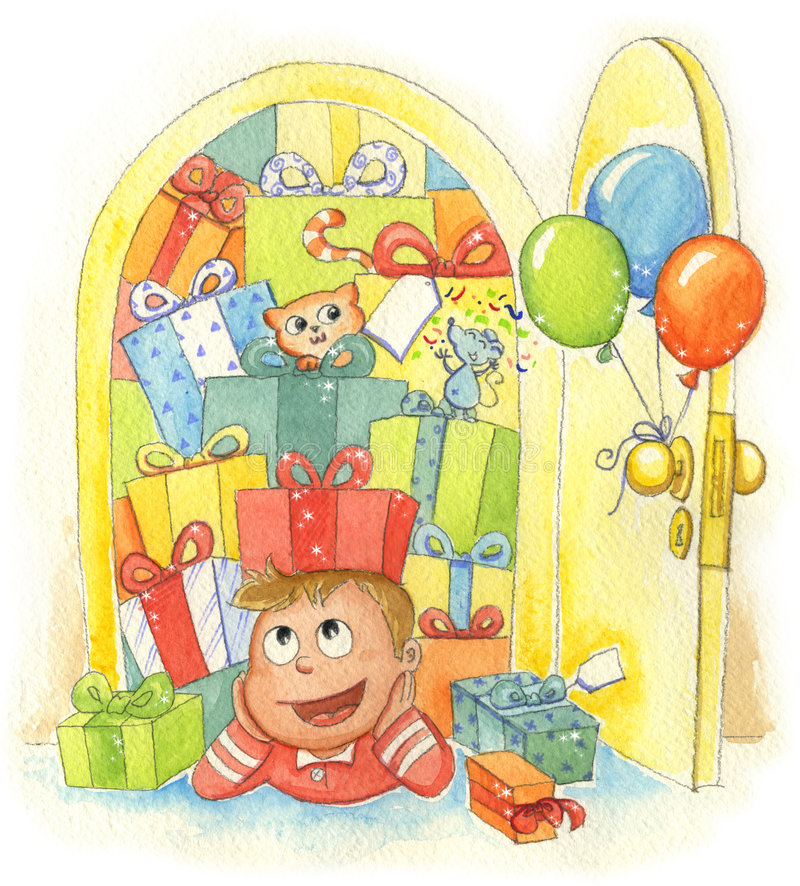 Boy with gifts stock illustration