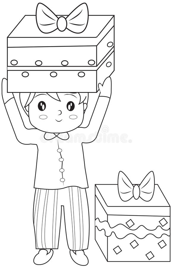 Boy with gifts coloring page. Useful as coloring book for kids vector illustration