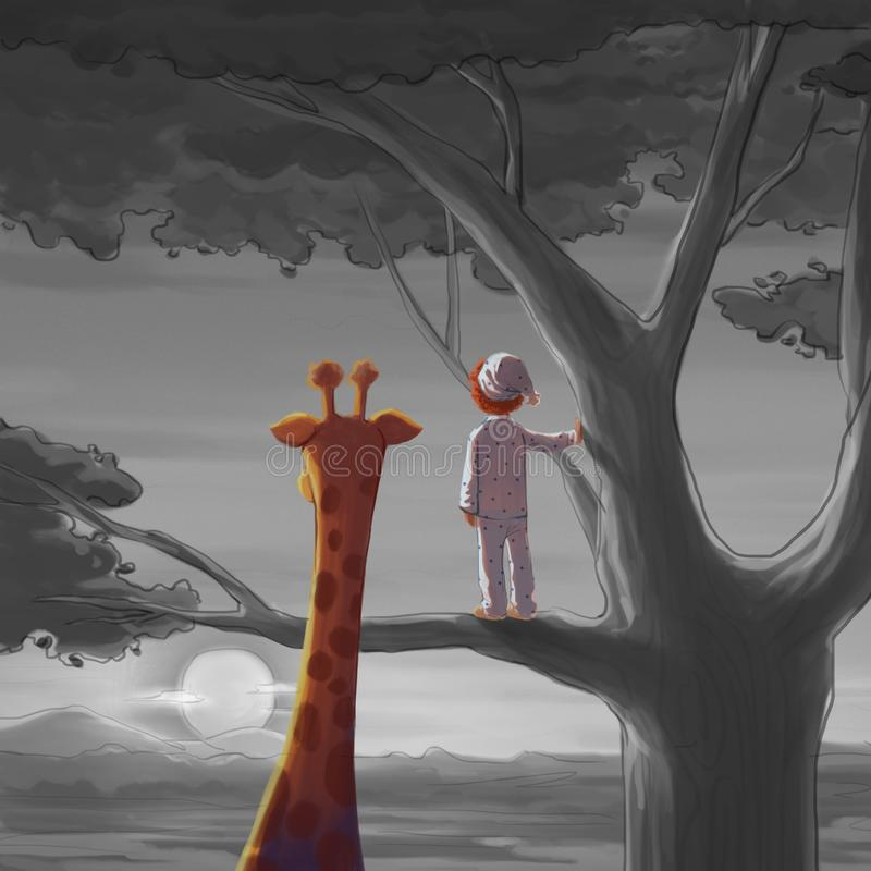 Boy and Giraffe. Meet Someone in the Travel Series. Video Game`s Digital CG Artwork, Concept Illustration, Realistic Cartoon Style Character Design royalty free illustration