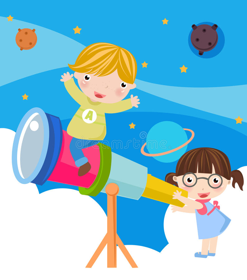Boy and girl. Illustration of cute boy and girl watching stock illustration