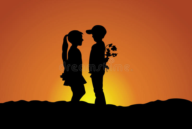 The boy and girl royalty free illustration