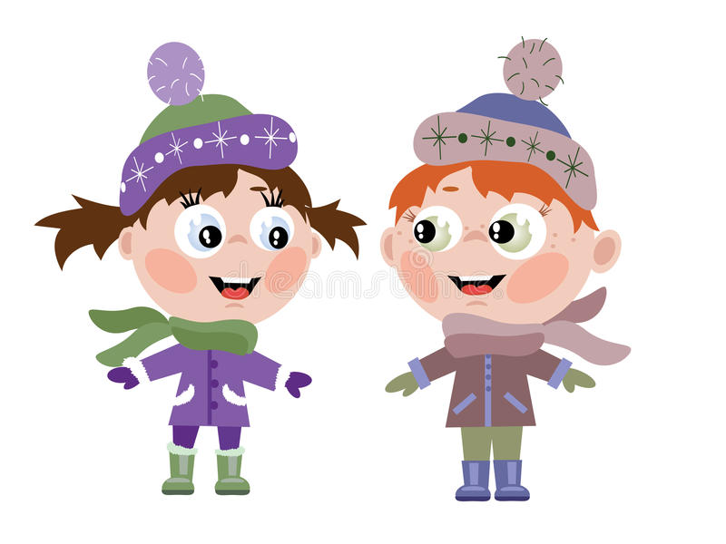 Boy and girl. Isolated over white stock illustration