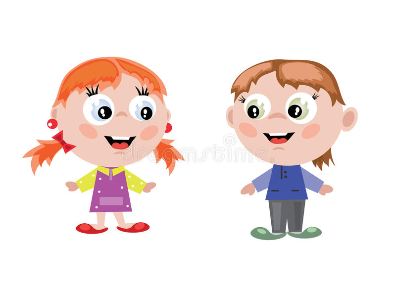 Boy and girl. Little boy and girl ,isolated over white stock illustration