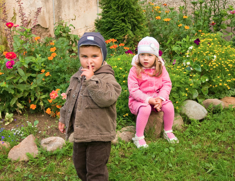 Download Boy and girl stock image. Image of little, abuse, leaf - 18071629