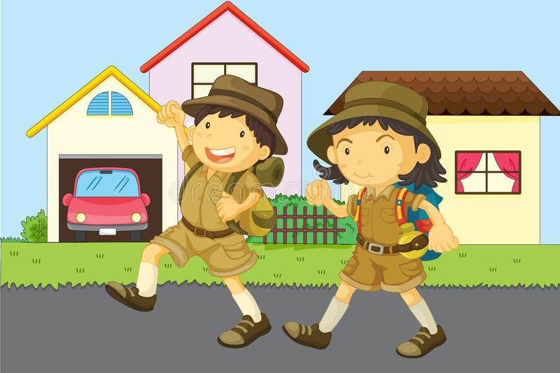 Download Boy and girl stock illustration. Illustration of robe - 9538587