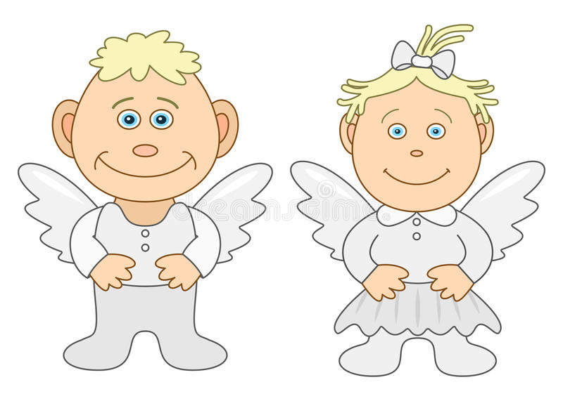 Boy and girl angels. Angels, children's, little boy and little girl, isolated vector illustration
