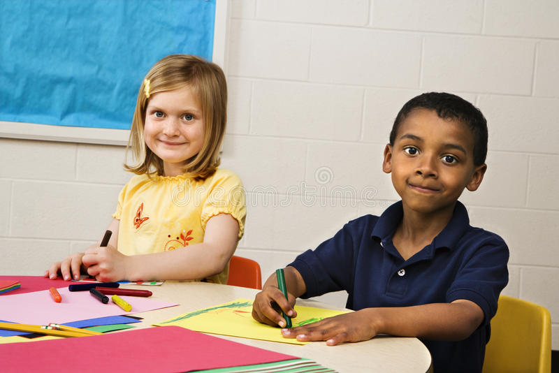 Download Boy and Girl in Art Class stock image. Image of looking - 12529043