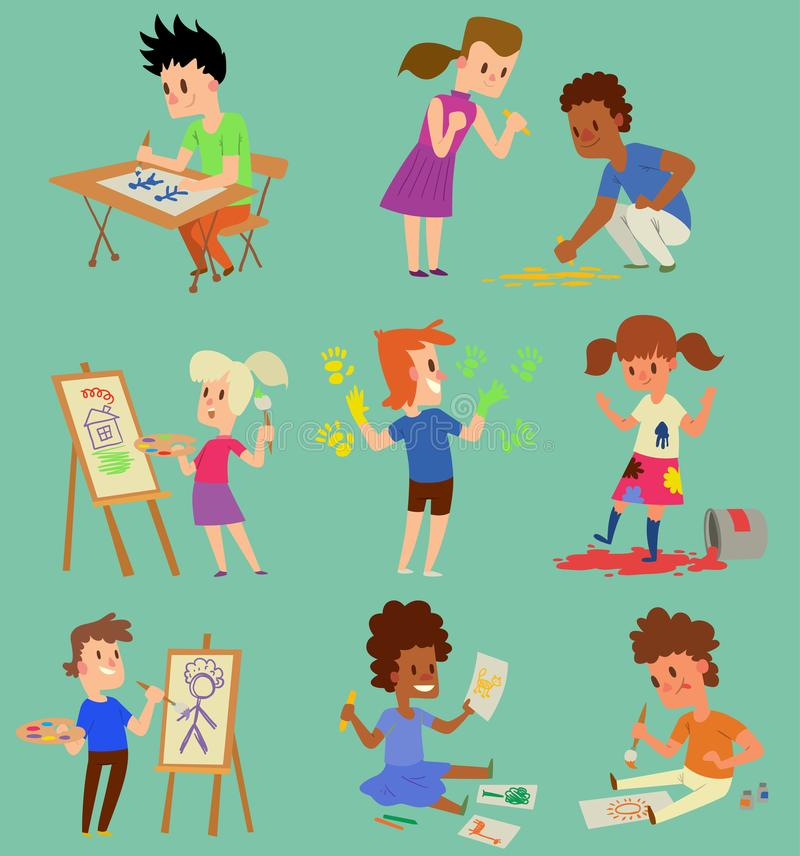 Boy And Girl Artist Vector Creative Play Games Kids Children ...