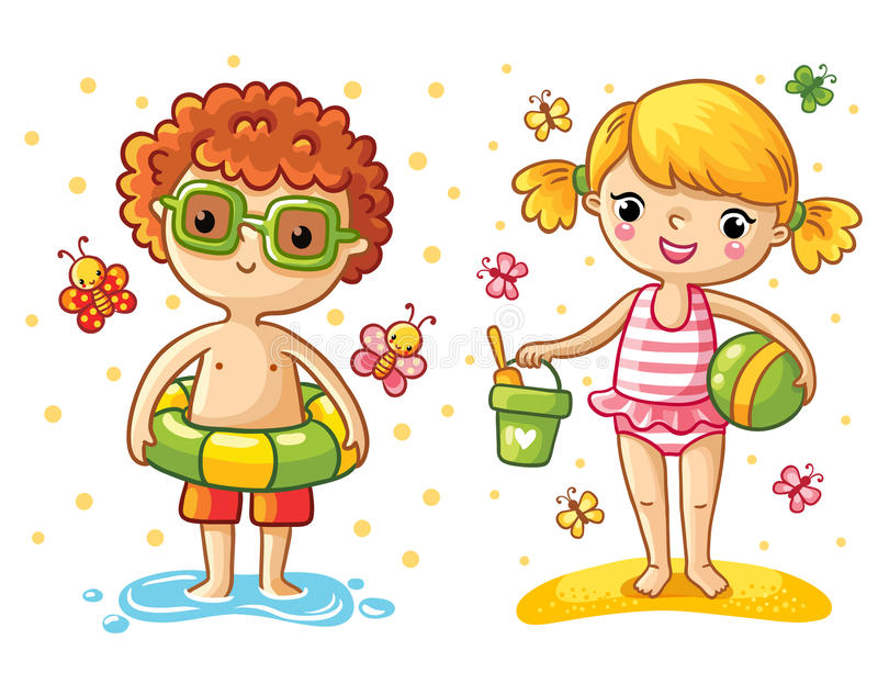 Boy and girl on the beach. royalty free illustration