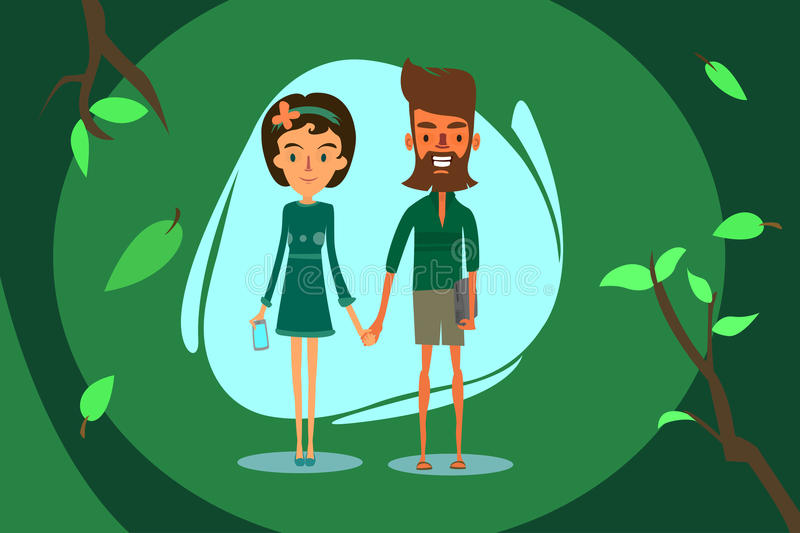 Boy and girl. The bearded boy in shorts, with the laptop holding the hand of the girl in a dress with a mobile phone royalty free illustration