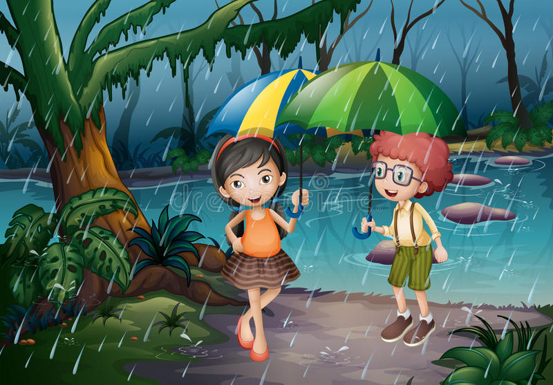 Boy and girl being in the rain. Illustration vector illustration