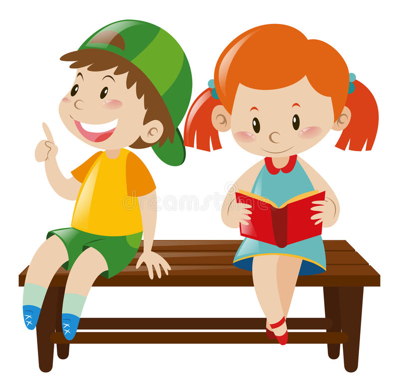 Boy And Girl On Bench Stock Vector Illustration Of