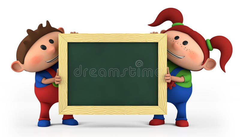 Download Boy And Girl With Blackboard Stock Illustration - Image: 20207671