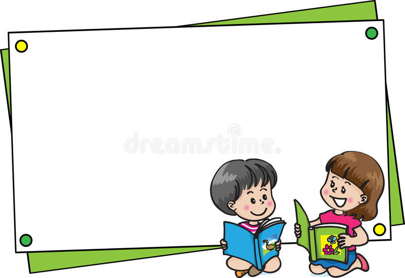 Boy and girl with blank card border vector illustration