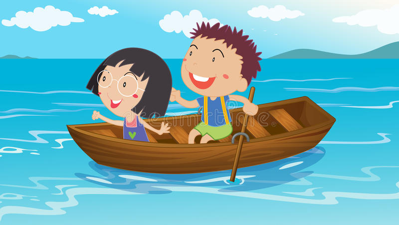 A boy and a girl boating. Illustration of a boy and a girl boating royalty free illustration