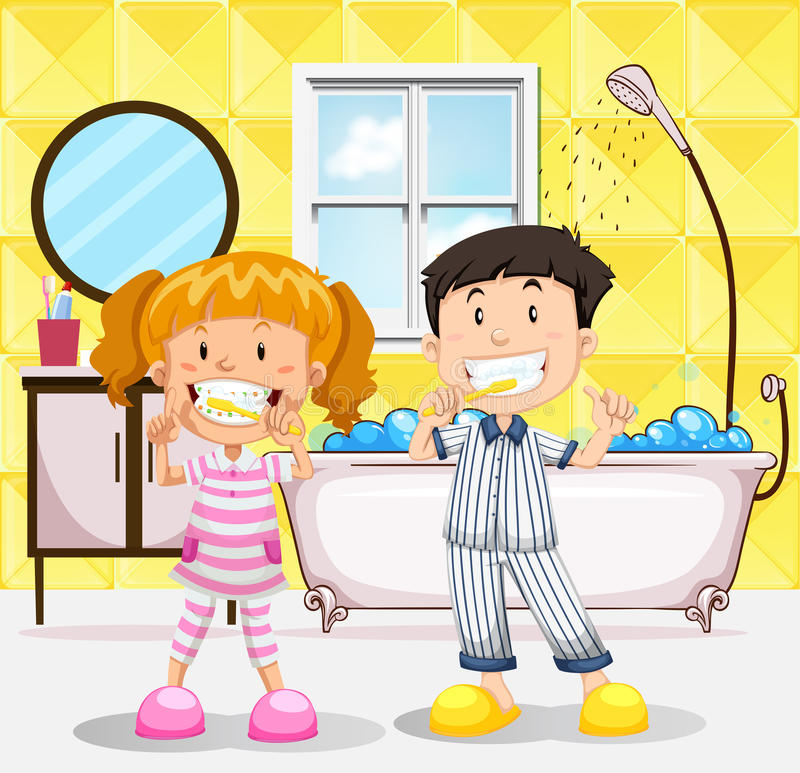 Download Boy And Girl Brushing Teeth In The Bathroom Stock Vector