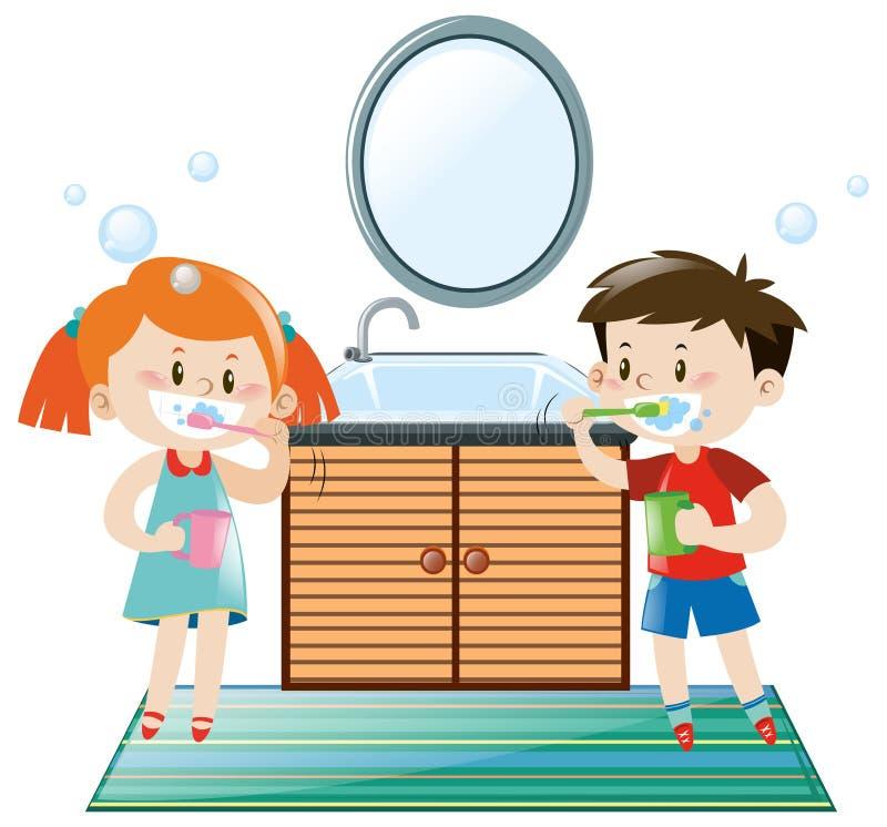 Download Boy And Girl Brushing Teeth In Bathroom Stock Vector
