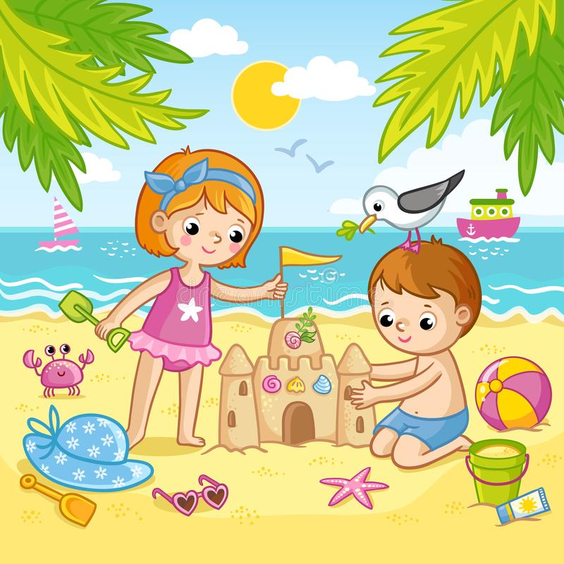 Boy and a girl are building a castle from the sand. Children playing on the beach by the sea. stock illustration