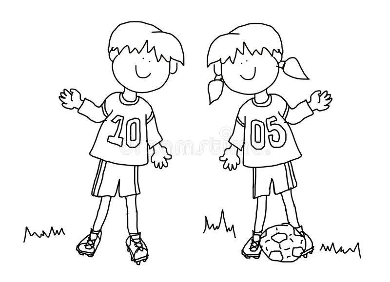 Boy and girl cartoon soccer player