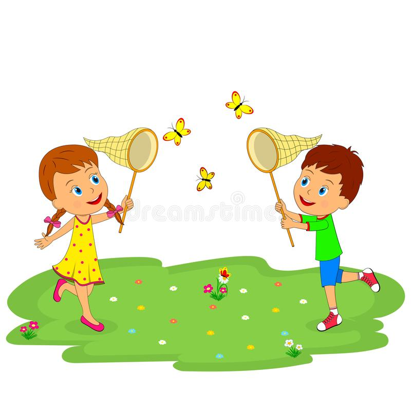 Boy and girl catch butterflies. Kids, boy and girl catch butterflies, illustratin,vector stock illustration