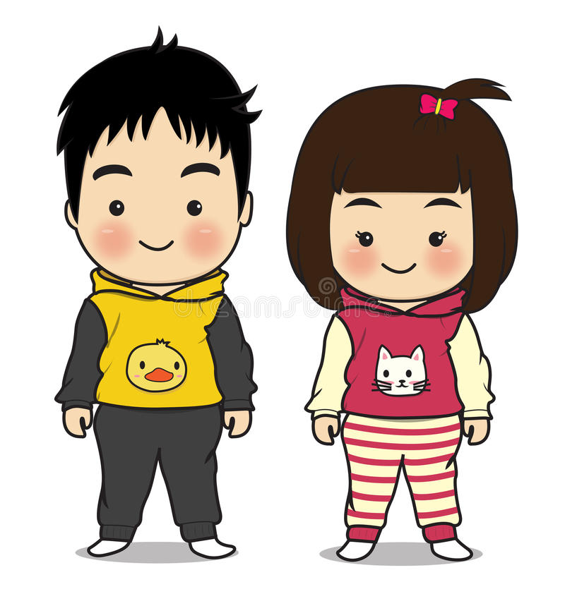 Boy and girl character cartoon. Boy and girl so cute on white background stock illustration