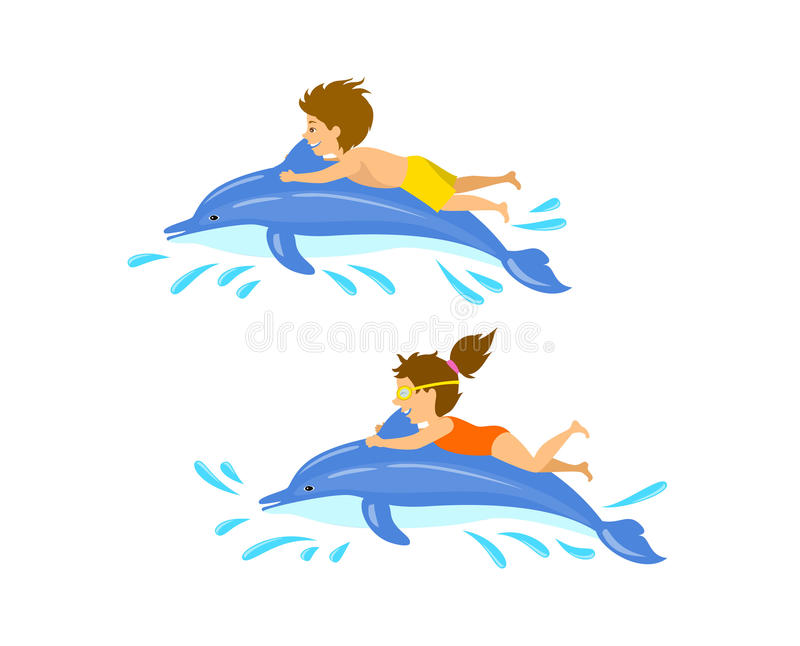 Boy and girl, children , kids swimming jumping with dolphin. Isolated vector illustration