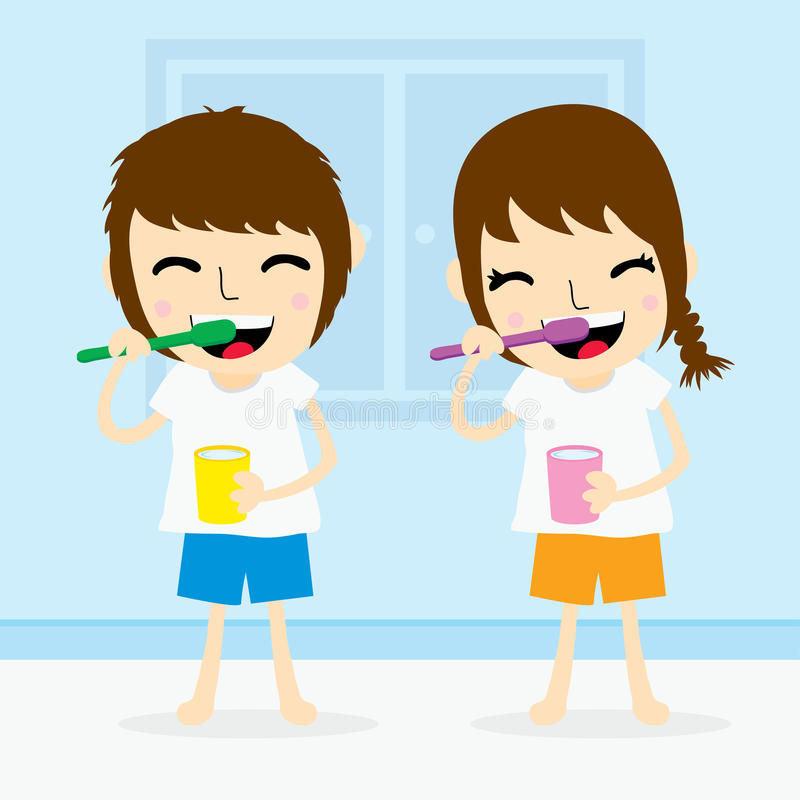 Boy and girl clean tooth brush activity daily cute cartoon vector vector illustration