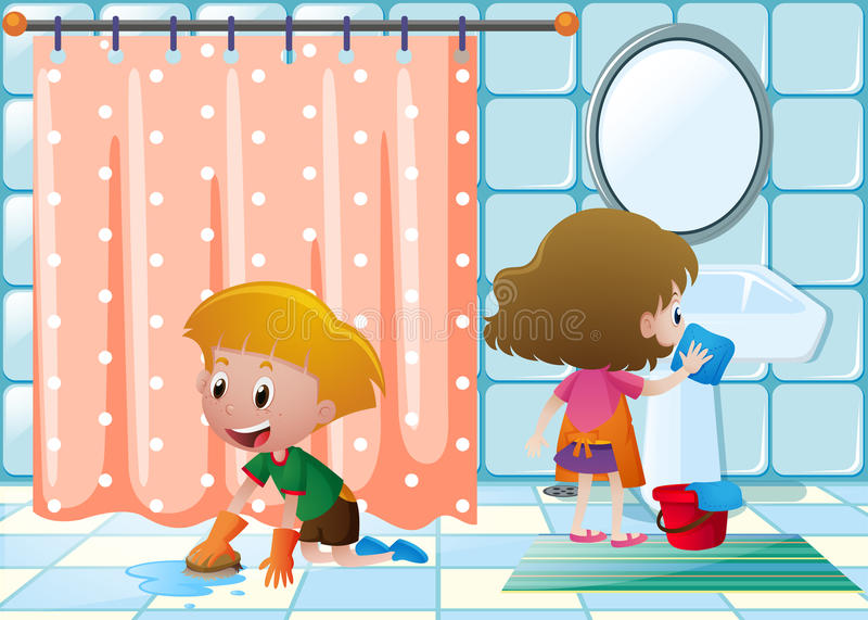 Download Boy And Girl Cleaning Bathroom Stock Vector