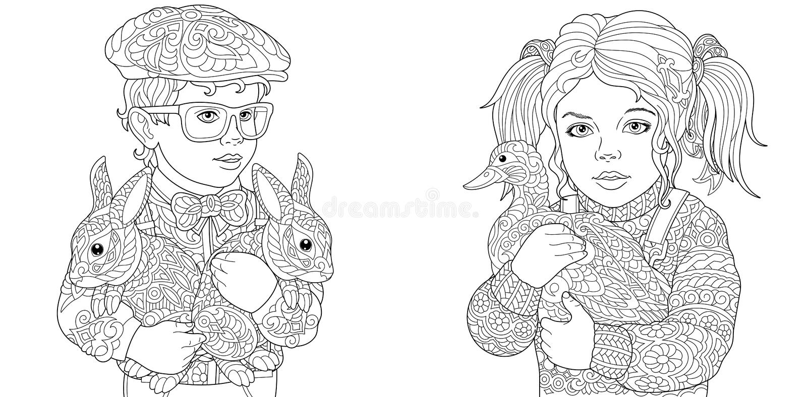 - Boy And Girl. Coloring Pages. Coloring Book For Adults. Colouring Pictures  With Kids And Farm Animals Drawn In Zentangle Style. Stock Vector -  Illustration Of Beautiful, Embrace: 131671781