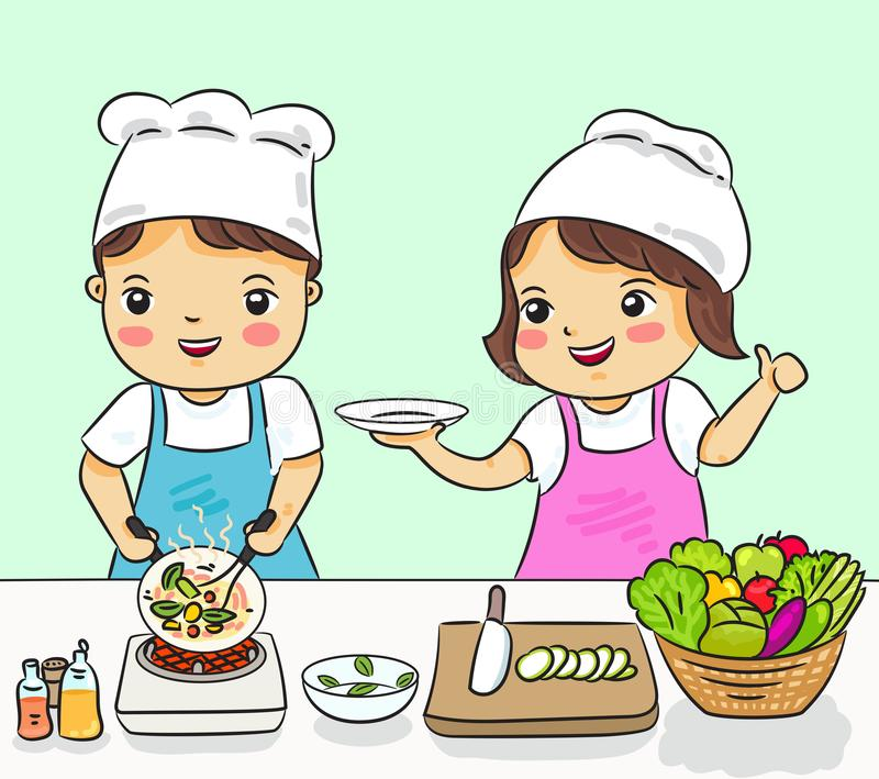 Boy and girl cooking healthy food vector illustration stock photography