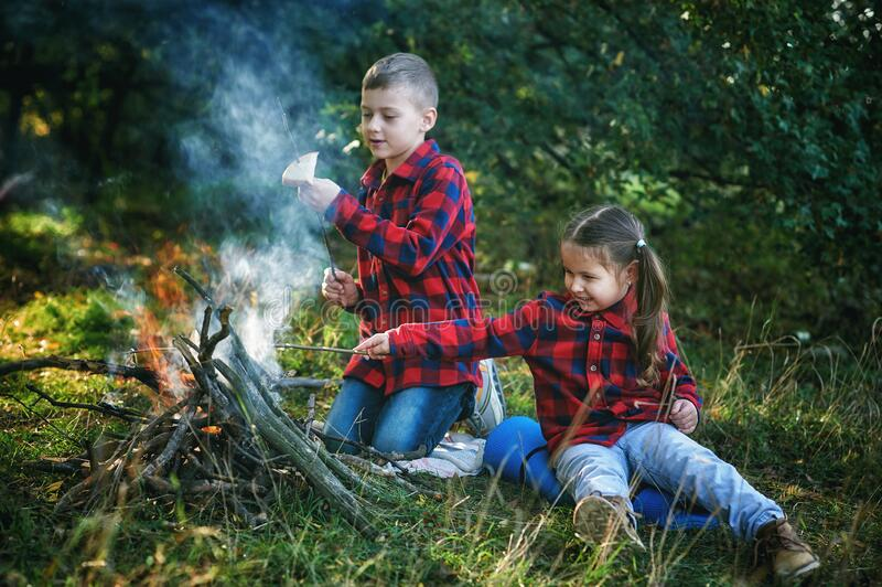 Boy and girl on a country picnic with a fire. Children on a picnic in nature by the fire . Brother and sister roasting bread on the fire royalty free stock images