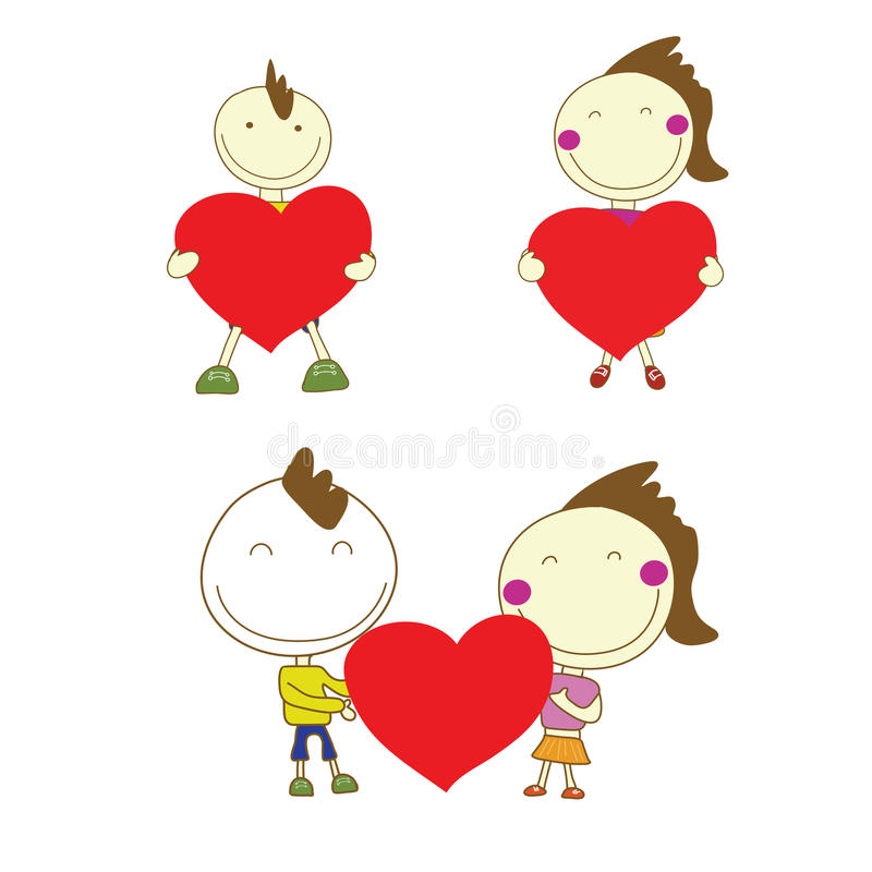 Boy and girl couple smile holding red heart for Valentine's Day stock illustration
