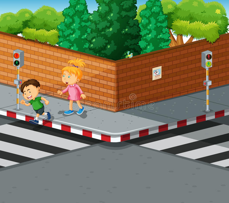 Boy and girl crossing the road royalty free illustration