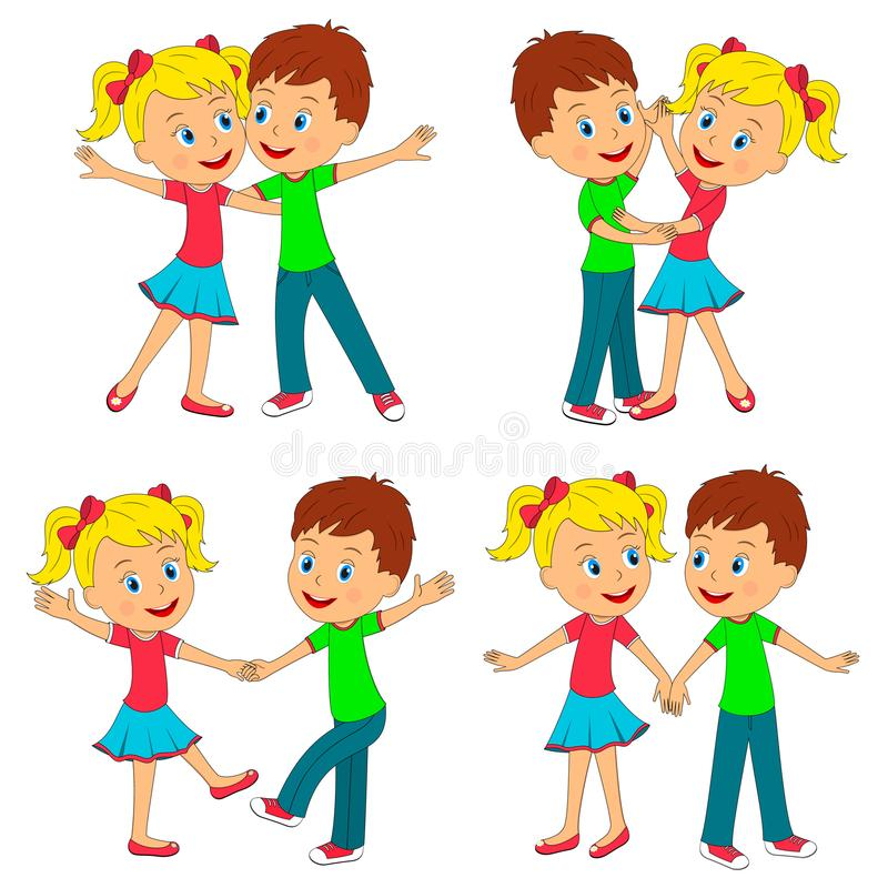 Boy and girl dance collection royalty free illustration