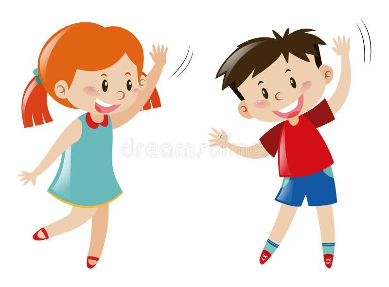 Boy and girl dancing royalty free illustration