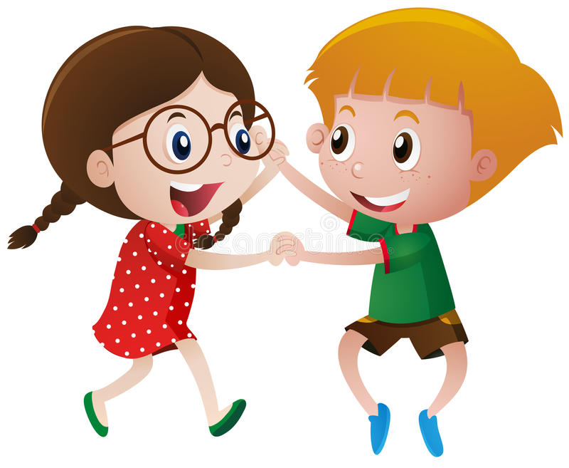 Boy and girl dancing vector illustration