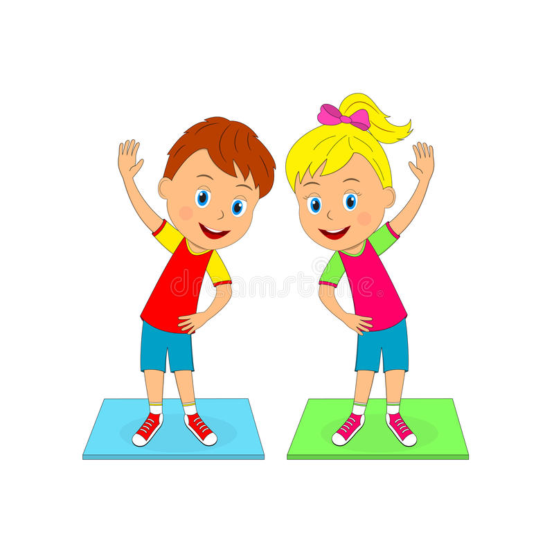Boy And Girl Doing Exercises Stock Vector - Illustration ...