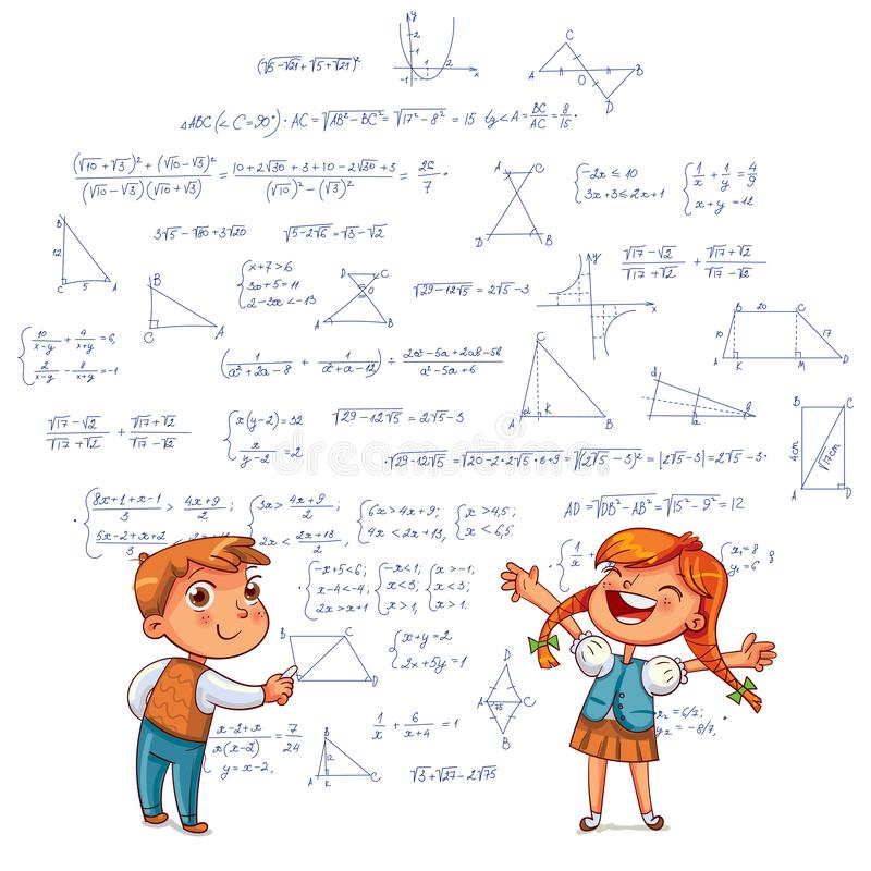 Boy and Girl draw geometric shapes on a school board. Kids drawing. Boy and Girl draw a doodle on the wall. Draw geometric shapes on a school board. Funny royalty free illustration
