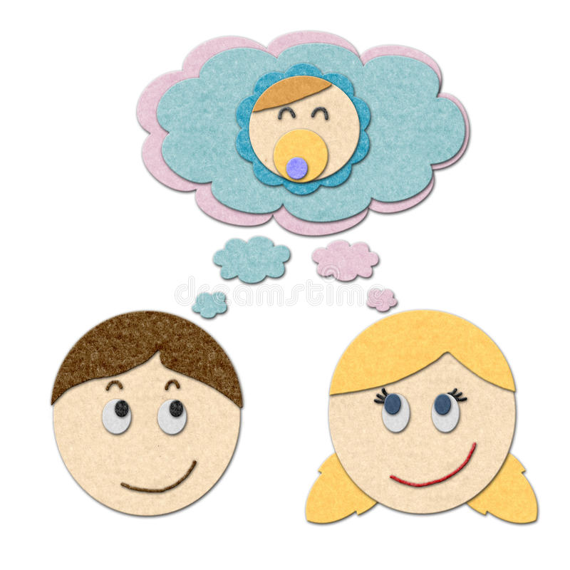 Boy and girl dreaming about having a baby. Boy and girl dreaming or thinking about having a baby. Handmade style illustration vector illustration